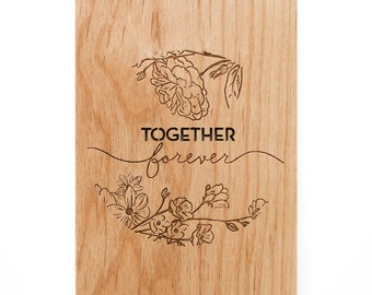 Together Forever Floral Wood Love Card [Personalized Wedding Card / Five Year, Fifth, 5th Anniversary / Custom Anniversary / Valentine]