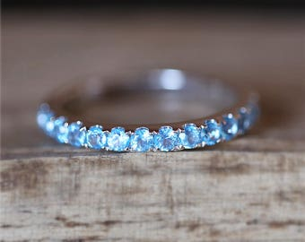 Blue Topaz Wedding Ring Birthstone Match Ring Half Eternity Topaz Ring  Gemstone Wedding Band Stackable 14K