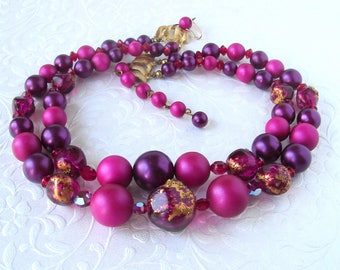 Delicious Pink 2 Strand Necklace Big Chunky Step Acrylic Bead Hot Fuchsia Pink Purple Pearl Beaded Crystal Cocktail Vintage Costume Jewelry