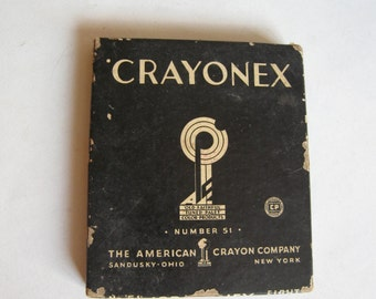 vintage Crayonex number 51, 8 crayons in original box, New York, USA