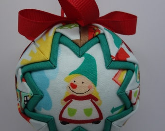 Quilted Fabric Ornament Spring Gnomes Garden Girl Boy