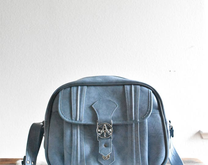 vintage samsonite blue vinyl travel bag luggage / shoulder bag / messenger bage / tote