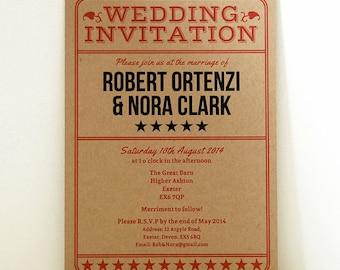 Vintage Ticket Wedding Invitation, Admission Ticket Invitation, Rustic Wedding Invitation, Ticket Save The Date, Natural Paper Invite, RSVP