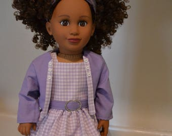 Lavender and whited checked dress, jacket, belt and headband for 18 inch doll