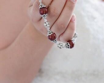 Red Pearl Bracelet Swarovski Pearl and Crystal Marsala Red Wedding Bridesmaid Bracelet Burgundy Bridal Jewelry Mother of Groom Bride Jewelry