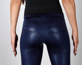 Sale; Navy Blue Metallic Leggings w. Jeans Back, Festival Clothing, Clubwear, Meggings, Dance Costume, Burning Man, by LENA QUIST
