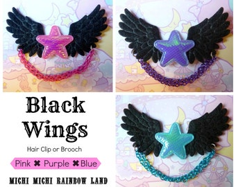 Iridescent Star Black Wings Hair Clip