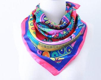 Colorful Seamless Geometric Square Scarves/Soft Silk Head Scarf/Scarf Headband/Pink, Teal, Yellow, Blue/Boho Style Wide Head Wrap/Bandanas