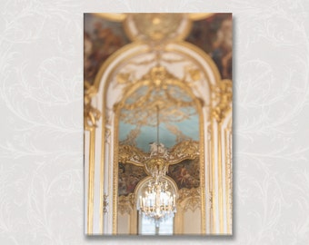 Paris Decor Photograph on Canvas, Gilt and Blue on Canvas, Elegant French Chandelier, French Home Decor, Large Wall Art