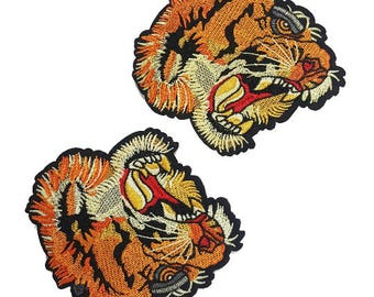 Tiger Head Patch Applique, Embroidered Tiger Patch, Animal Head Badge for Sewing