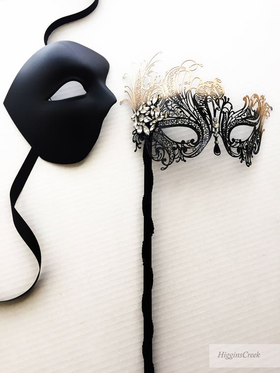 black gold handheld couples masquerade mask set men women