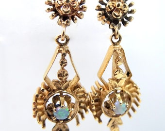 14k Gold & Opals Victorian Revival Dangle Earrings