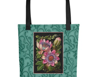 French Antique Passion Flower Altered Art- Travel bag /Tote bag- Roomy Purse