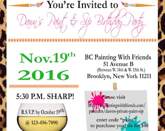 DIGITAL Paint Party Invitation, Birthday Party, Paint & Wine Party Invitation, Girls Night Out, Paint and Sip Invitation