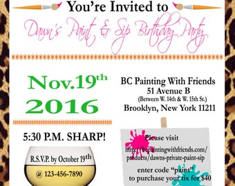 Paint and sip invite etsy digital paint party invitation birthday party paint wine party invitation girls night stopboris Choice Image