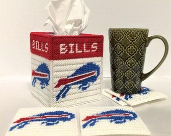 Buffalo Bills Football Fan Tissue Box Cover Coaster Set Plastic Canvas Handmade - Buffalo Bills Football - Tissue Box Cover - Coaster Set