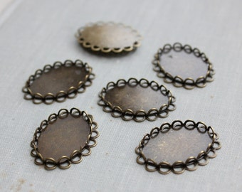18x25mm Bronze Double Lace Edge Cabochon Settings (10pcs)
