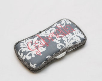 Personalized Wipes Case - Grey damask with coral