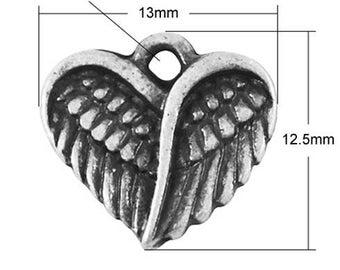 12.5 mm, set of 10 Pcs silver metal wing charm