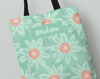 Tote Bag | Mint Wild Daisies Tote Bag | Great Gift Idea | Personalized All Over Print Tote Bag | Canvas Tote Bag