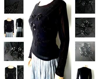 Vintage Black Top Semi Sheer Mesh beautifully Embellished Party Goth  Long Sleeves   UK Size 8-10
