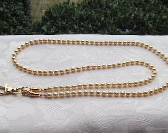 ID Badge Lanyard Gold Swarovski Pearl Beaded Lanyard Necklace ID Badge Holder