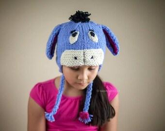 Eeyore Hat, Eeyore Inspired, Knit Eeyore Hat, Character hat, Theme hats, Handmade hats, Blue Hat, Donkey Hat, Animal hat