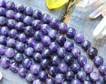 10mm amethyst, faceted amethyst, round beads, natural gemstones, boho beads, gemstone rounds