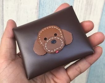 Pudding the poodle leather coin pouch - Slim version ( Dark brown )