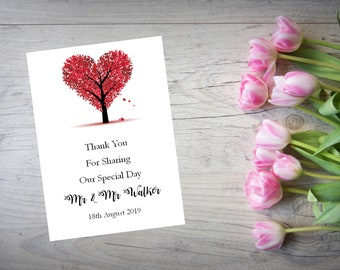 Personalised Wedding Thank You Cards with Matching Envelopes Pack Of 10 TY95