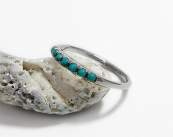 Eternity Turquoise ring, Turquoise anniversary ring, Personalized December birthstone ring, Turquoise gem ring, Turquoise stacking ring.