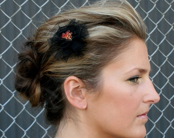 Black Netting Barrette With Red Golden Crystal Pin Brooch Hair Clip French Veil