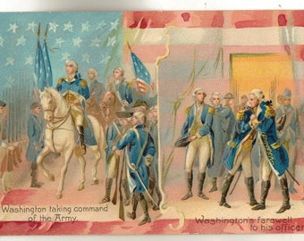 Vintage postcard, George Washington Taking Command of the Army