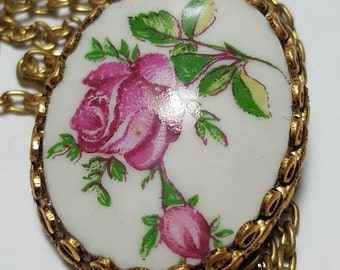 The original vintage pendant/Pendant on a chain Russian enamel/USSR/1980's/ Soviet vintage/Vintage Jewelry