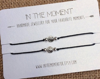 Heart Bead 2 Pack Bracelets/Anklets, Friendship Bracelets 2 Pack, Friendship Anklets, Dainty Heart Bracelet Set, Minimal Jewellery Set, Boho