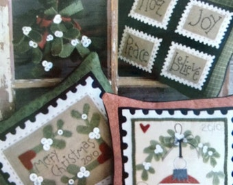 Mistletoe Magic Directions to Make 3 Wool Pillows and Hanging Mistletoe