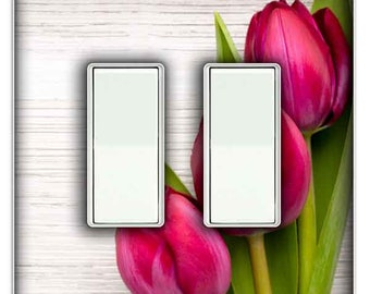 Pink Tulips Light Switch Cover - Double Rocker Decorative Switch Plate Cover