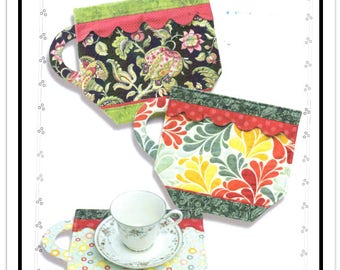 FUN CUP Mats - Tea or Coffee Cup Shaped Quilted Placemats by Wonder Woman Quilts - Designed by Ginnie Kelly - In Two Sizes - Uncut/FF