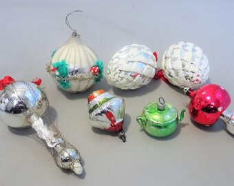 7 Old antique vintage christmas glass ornaments balls