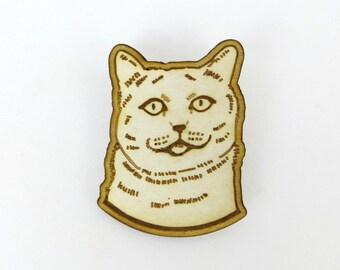 Cat Brooch, British short hair cat pin, laser cut birch wood, pin back cat brooch