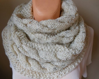 Cable Knit Infinity Scarf Cowl Neck Warmer  Circle Scarf  Knit Oatmeal