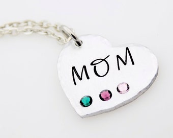 Mother Jewelry, Mother's Day, Handstamped Heart Necklace, Gift for new mother, Grandma, Mama, Nanny, gift for her, Birthstones, child gift