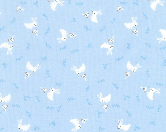 Blue Bunny from the Storybook Forest Collection from Timeless Treasures, Bunnies, Baby Fabric, Nursery Fabric