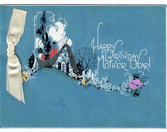 Vintage Art Deco Birthday to Mother Greeting Card Cottage Garden Ribbon Marbled Paper 1920's