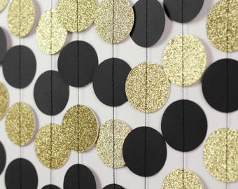 Black and Gold Circle Garland - Gold Wedding Decor - Gold Glitter Garland - Black Gold Bridal Shower