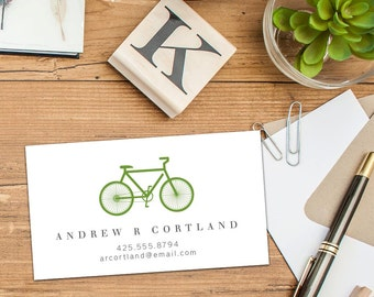 Bicycle Calling Card, Business Cards, Set of 50 Cards, Set of 100 Cards, Bike Calling Card, Informal Sophisticated Bike Cards, Personal Card