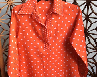Vintage orange with white polka dot 60s / 70s long sleeve top with fly collar
