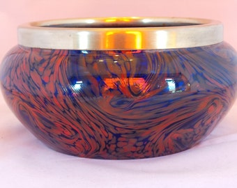 Art deco end of day glass bowl , blue and red glass bowl with silver rim