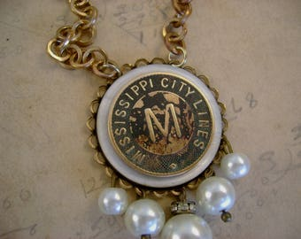 Mississippi Memories - Vintage Mississippi City School Token Mother of Pearl Button Bezel Pearls Recycled Repurposed Necklace