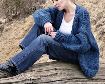 Oversized cocoon wrap cardigan Handmade jacket denim blue outerwear Batwing cardigan Boho fashion loose wrap coat Knit sweater Hand knitted